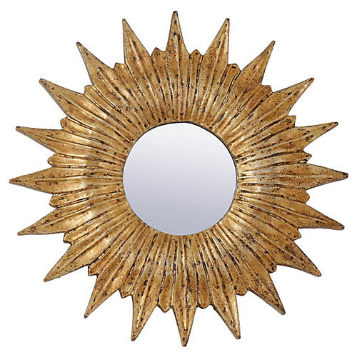Mini Sunburst Mirror, Gold