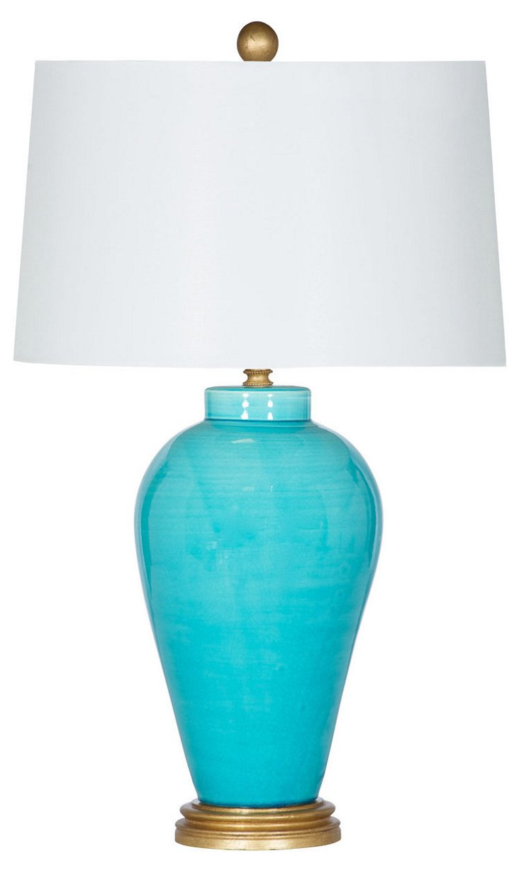 Del Mar Bay Table Lamp, Turquoise