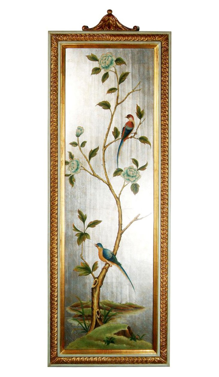 French Bluebird and Peony Panel, Left