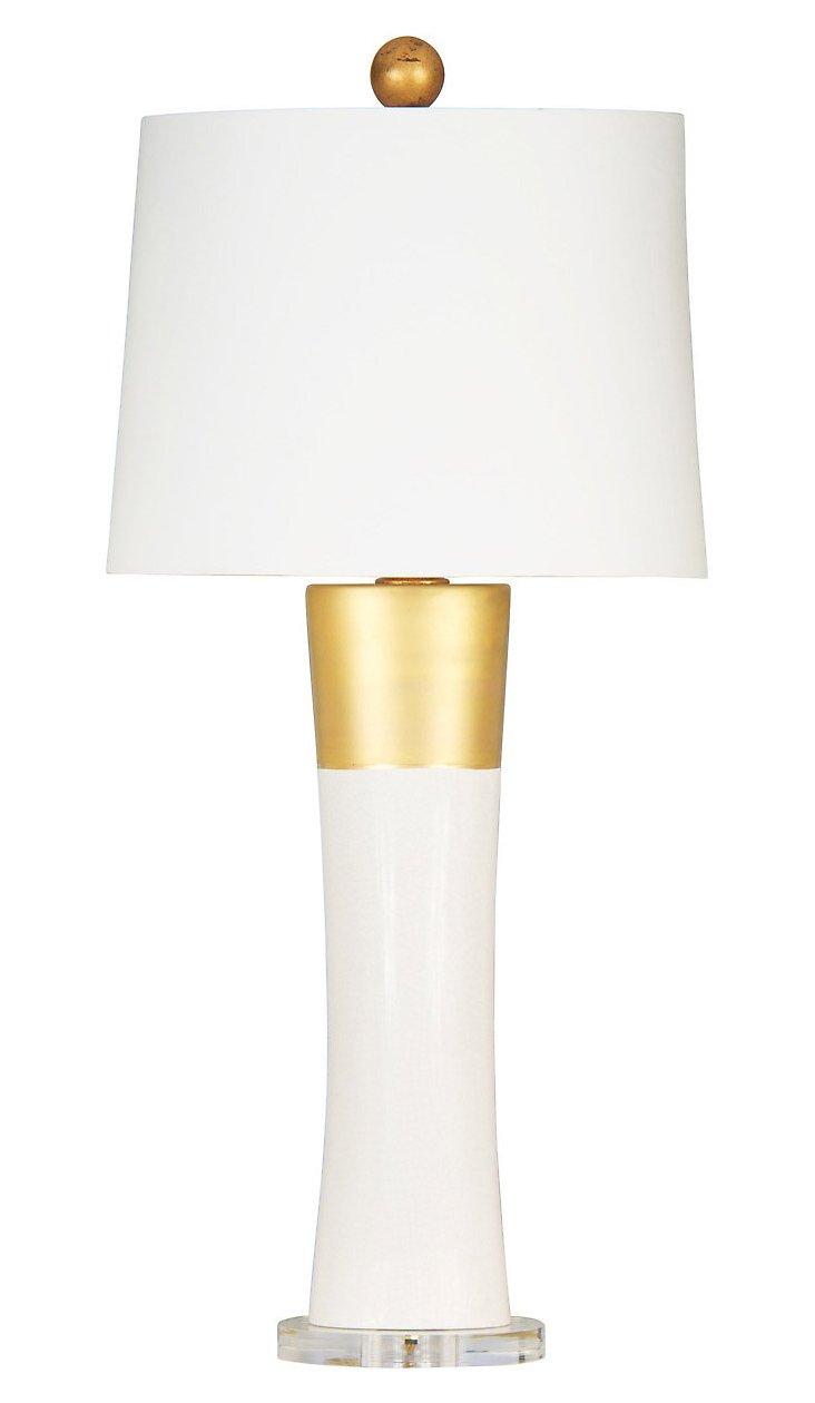 Lombard Table Lamp, Cream/Gold Leaf