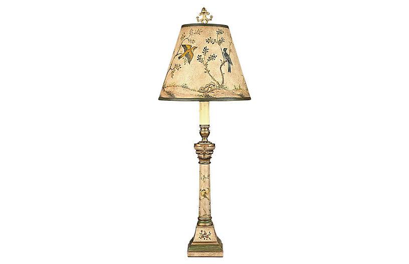 Alisia Table Lamp, Green/Gold Leaf