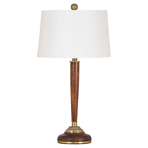 Brentwood Table Lamp, Teak/Brass