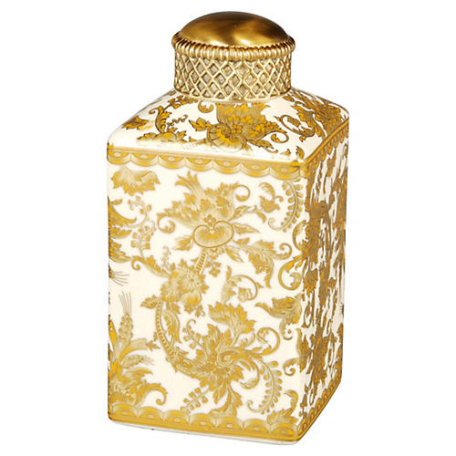 "7"" Golden Paisley Jar, Gold"