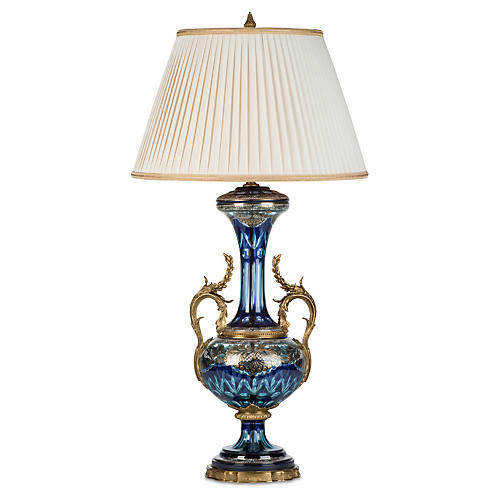 Shreyas Table Lamp, Blue/Brass