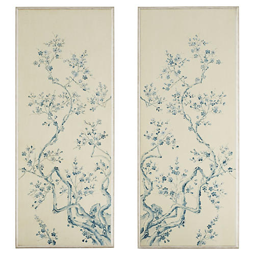 S/2 Cherry Blossom Panels, Blue/White