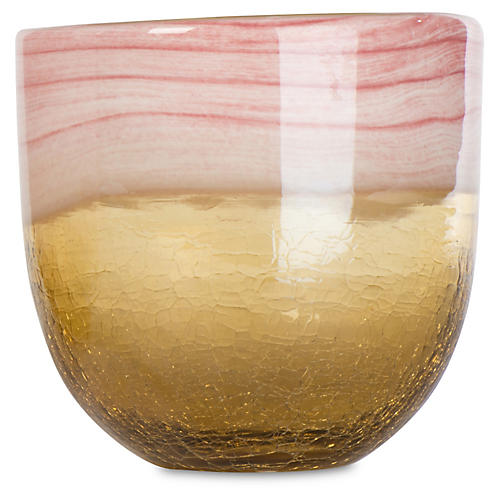 "6"" Vanilla Sky Glass Bowl, Cream/Rose"