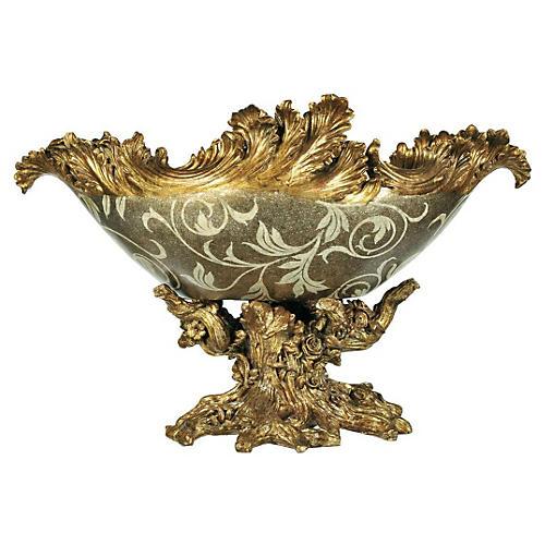 "21"" Gilded Paisley Tree Bowl, Cream"