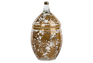 "12"" Fern Glass Jar, Gold"