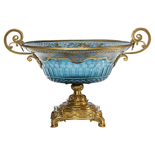 "15"" Rochelle Glass Pedestal Bowl, Blue"