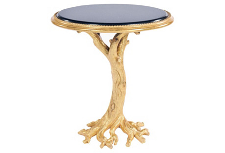 Gilded Oak Faux Bois Side Table, Gold