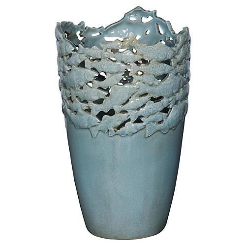 "16"" Blue Fish Vase"