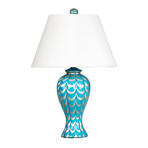 Lanier Table Lamp, Turquoise