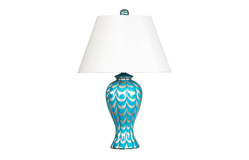 Lanier Table Lamp, Turquoise