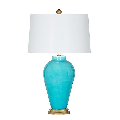 Hamptons Table Lamp, Aqua