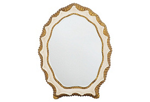 Shell Accent Mirror, White/Gold