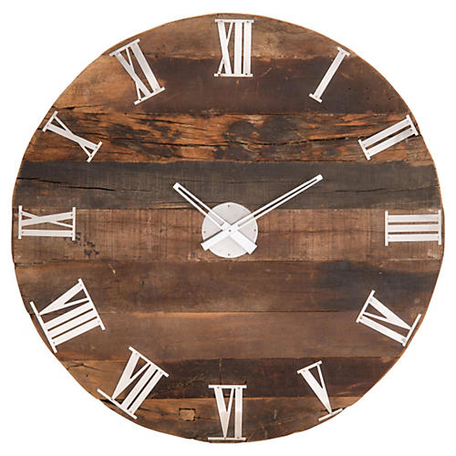 "32"" Rustic Mango Wood Wall Clock"