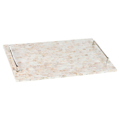 "22"" Mother-of-Pearl Dodson Tray, White"