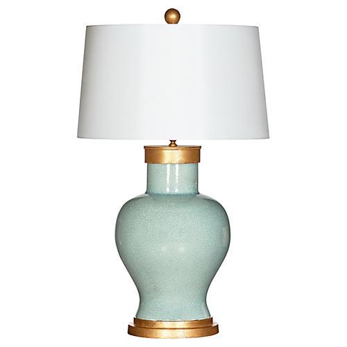 Cleo Celedon Table Lamp, Cream Glaze