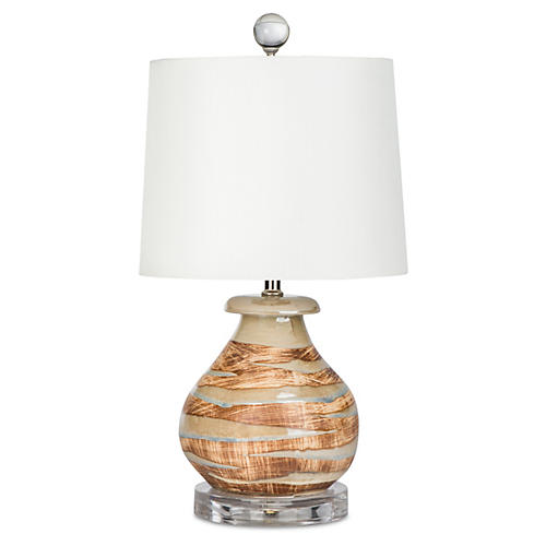 Teagan Table Lamp, Cream/Orange