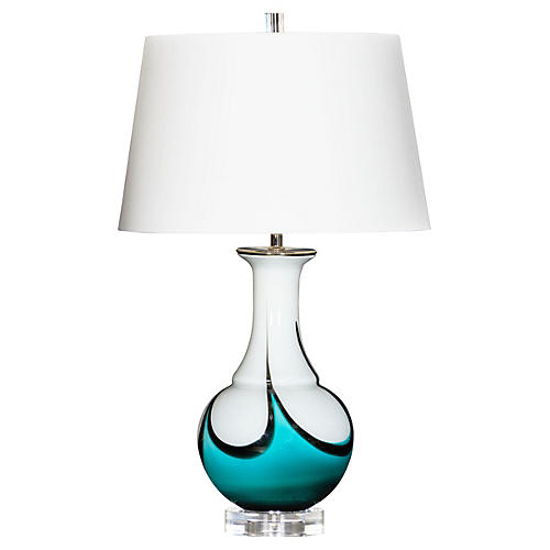 Isla Swirl Table Lamp, Cream/Blue