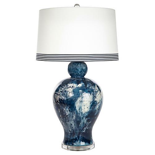 Payton Marble Table Lamp, Blue