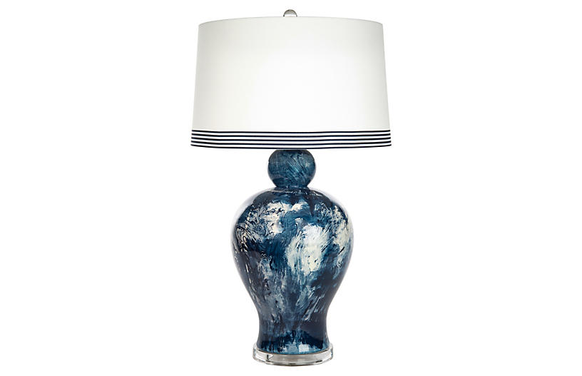Payton Marble Table Lamp, Blue