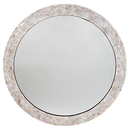 "Mother-of-Pearl 36"" Wall Mirror, White"