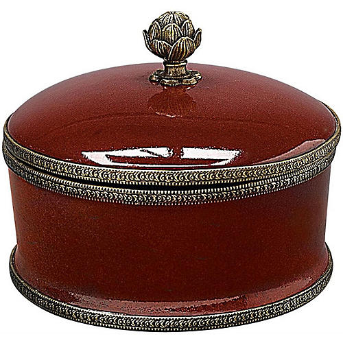 Round Ceramic Box, Oxblood