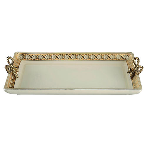 Custard Glass Tray, Gold