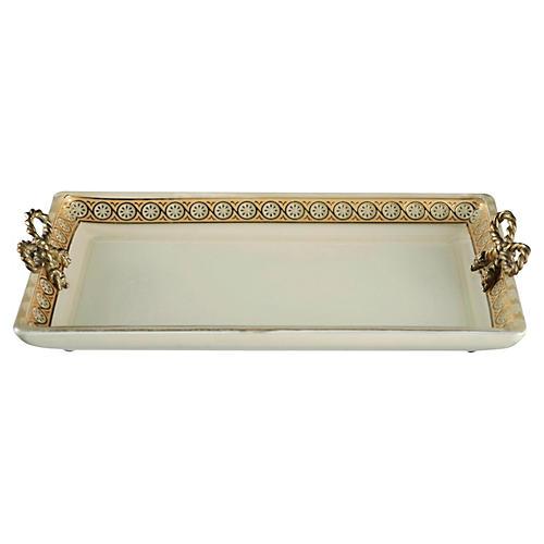 Custard Glass Tray, Gold
