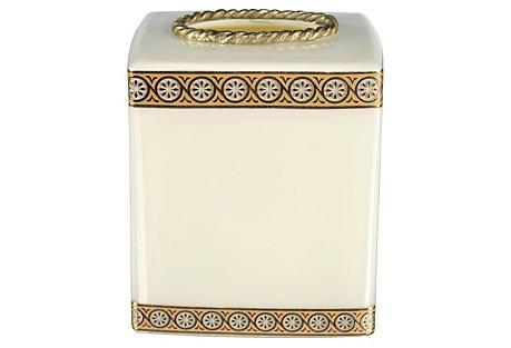 Custard Glass Tissue Box, Cream/Gold