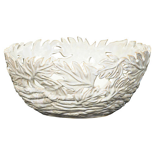 Pierced Oak Leaf Ceramic Bowl, Cream