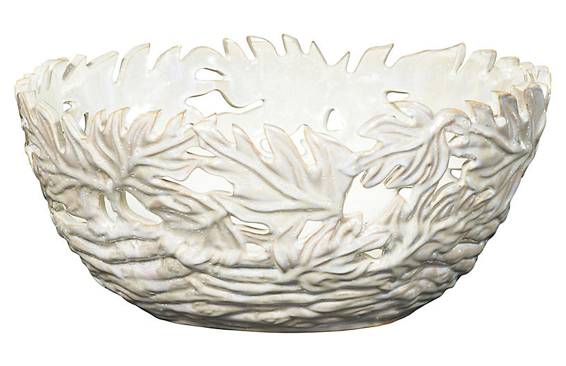 Pierced Oak Leaf Ceramic Bowl - Cream - Bradburn Home