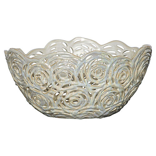 Pierced Openwork Ceramic Bowl, Cream