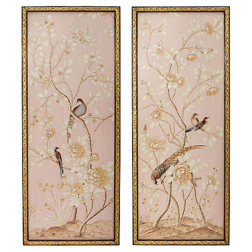 Set of 2 Bird Panels, Pink/Gold
