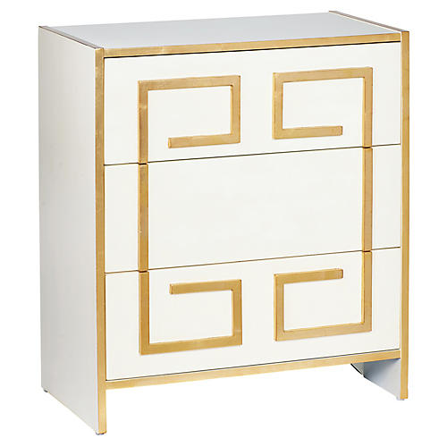 Greek Key Nightstand, Cream/Gold