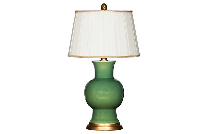 Emmy Couture Table Lamp, Green