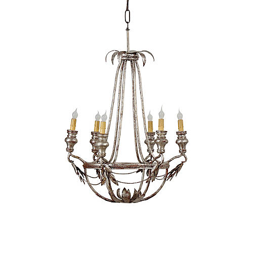 La Chapelle Chandelier, Antiqued Silver