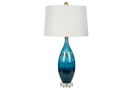 Berumda Table Lamp, Drip Blue