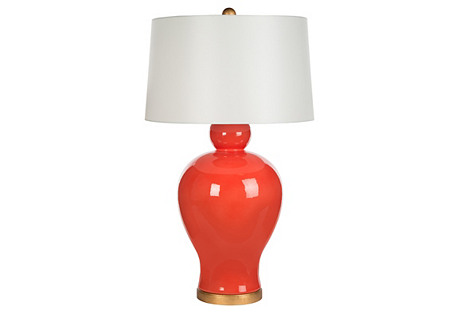 Sunburst Table Lamp, Orange
