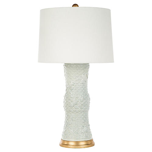 Koi Fish Table Lamp, Celadon/Gold