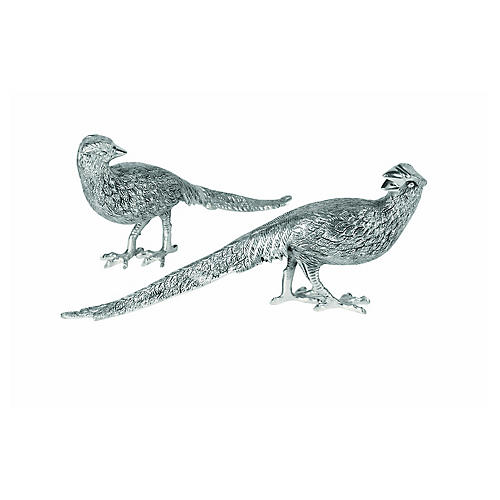 S/2 Pheasant Figurines, Antiqued Silver