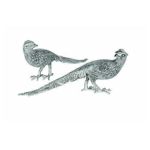 S/2 Pheasant Figurines, Antiqued Silver