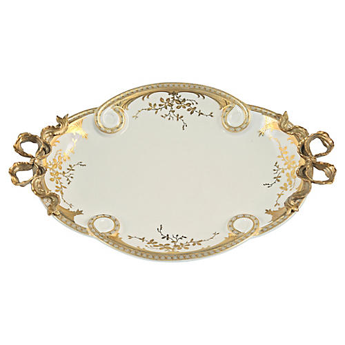 """19"""" French Oval Tray, Cream"""