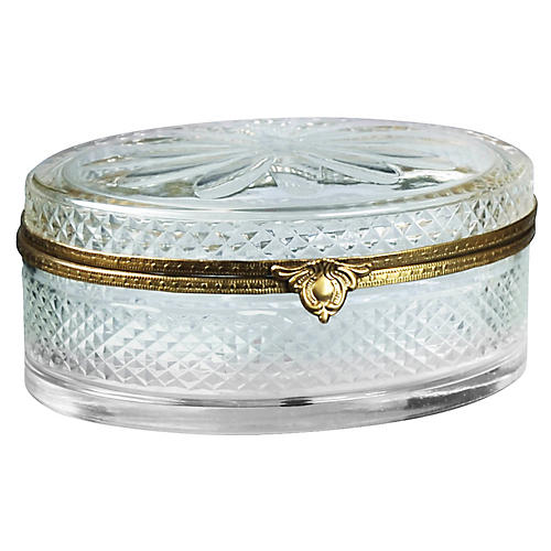 "6"" Diamond-Cut Oval Box, Clear"