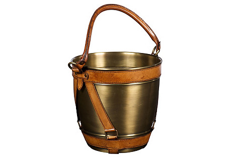 Buffalo Stash Bucket, Tan/Polished Brass