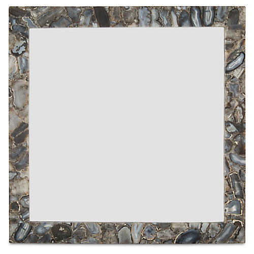 "Square 36"" Wall Mirror, Gray Agate"