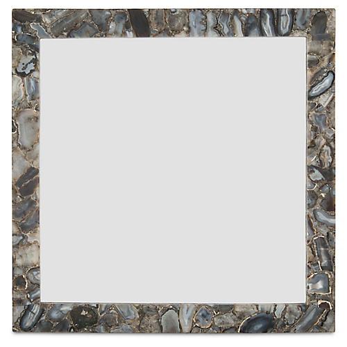 "Square 36"" Wall Mirror, Gray Agate"