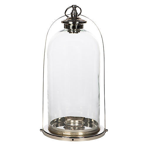 "20"" Modern Country Lantern, Silver/Clear"