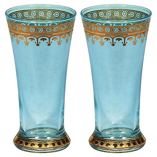 S/2 Glass Tumblers, Blue/Gold